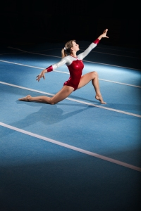 Gymnast overcoming adversity
